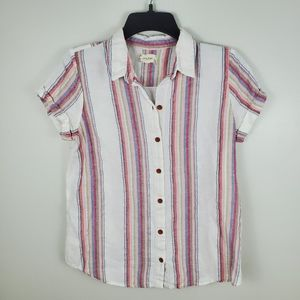 3/$25 Sandy & Sid Striped Button Front Top Small